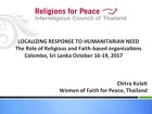 Localizing Response to Humanitarian Need, The Role of Religious and Faith-based Organizations