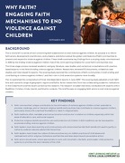 Why faith? Engaging faith mechanisms to end violence against children