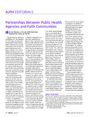 Partnerships Between Public Health Agencies and Faith Communities
